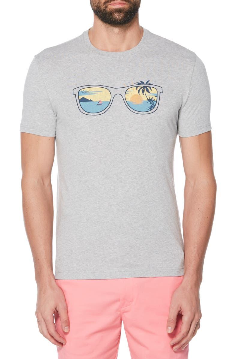 ORIGINAL PENGUIN Sunglasses Scene T-Shirt, Main, color, RAIN HEATHER