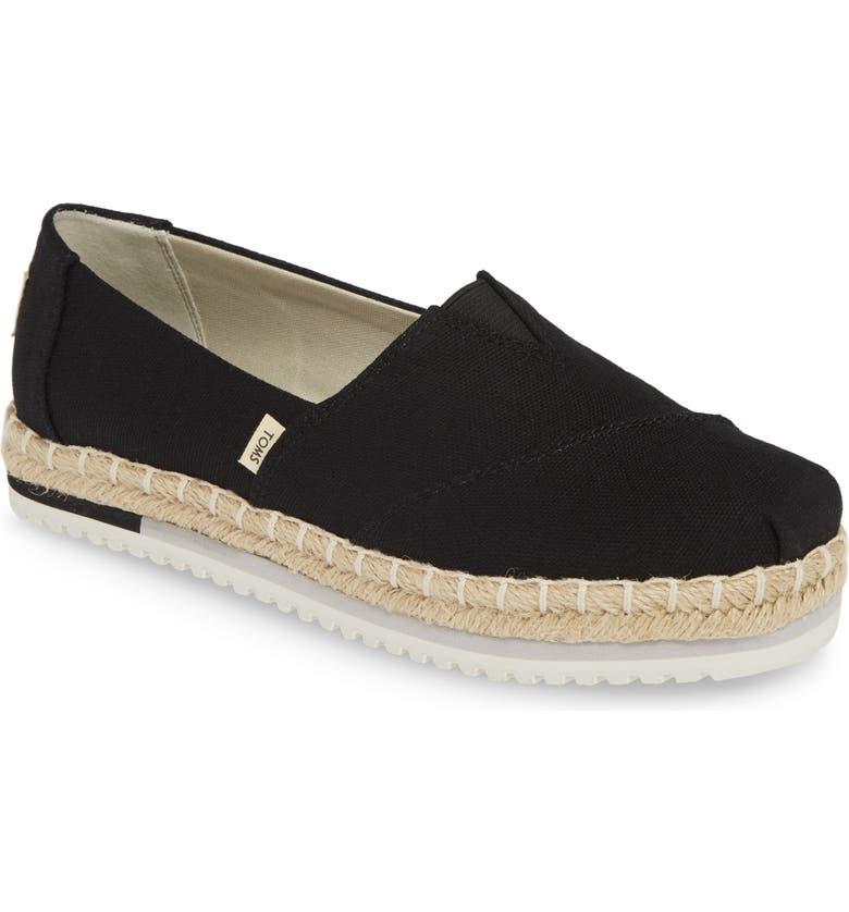 TOMS Alpargata Platform Sneaker, Main, color, BLACK CANVAS