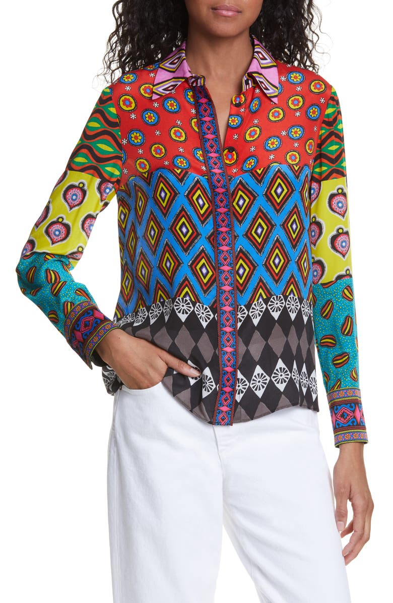 ALICE + OLIVIA x Carla Kranendonk Willa Patchwork Silk Blouse, Main, color, PATCHWORK