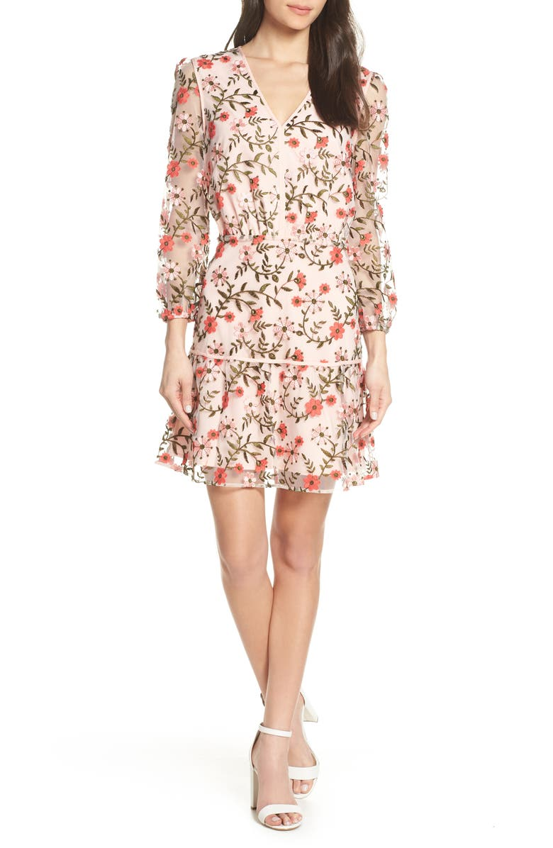 SAM EDELMAN Embroidered Floral Dress, Main, color, PINK MULTI