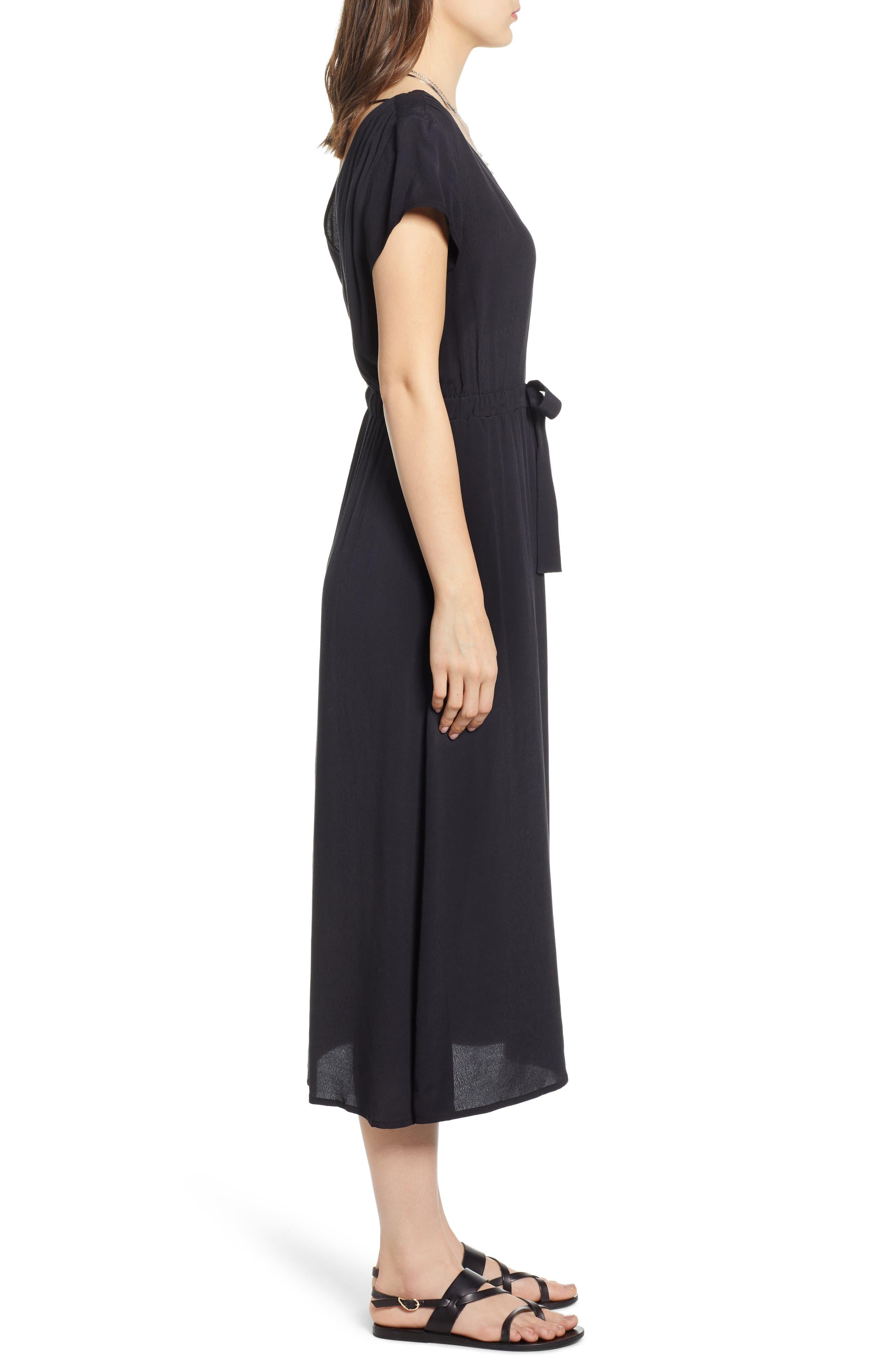 ,                             Cap Sleeve Midi Dress,                             Alternate thumbnail 4, color,                             BLACK