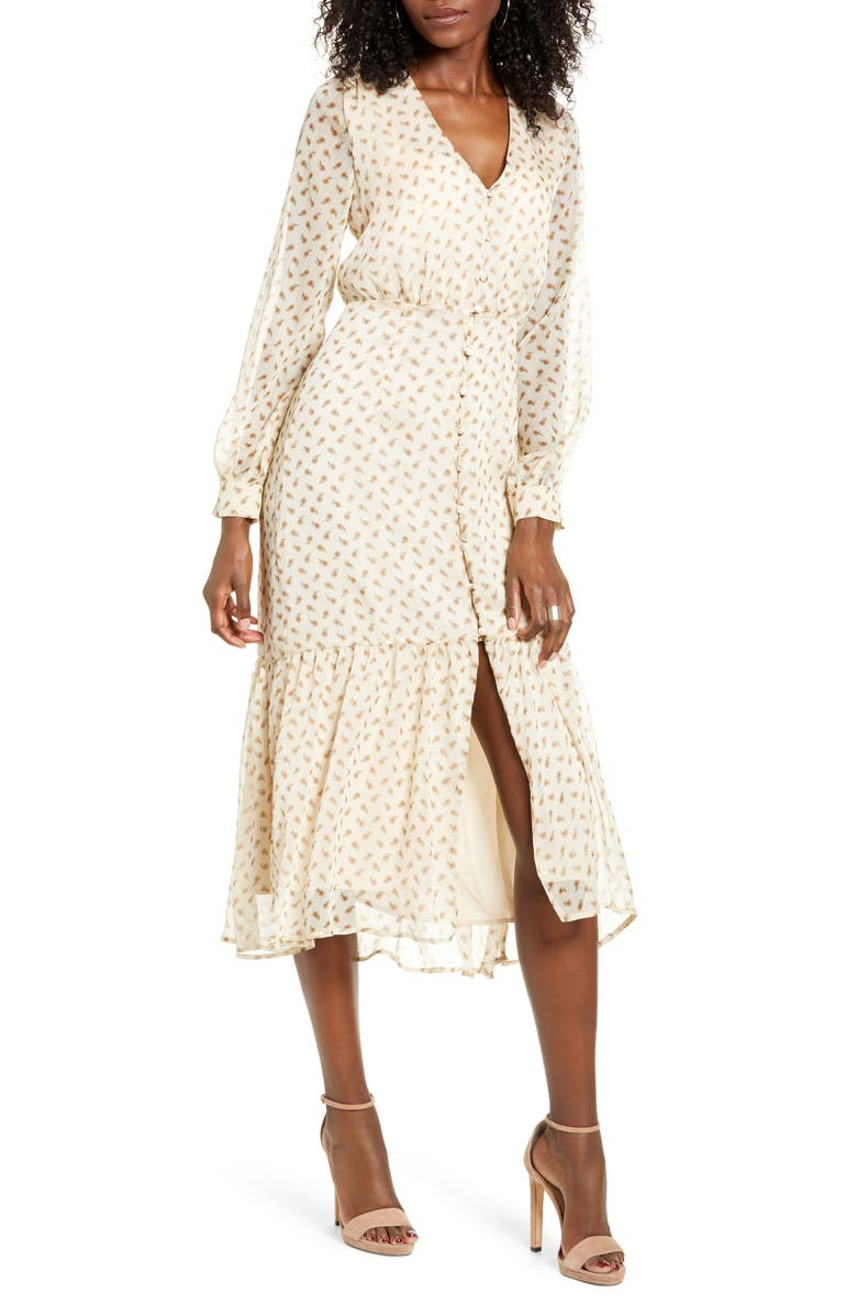 ALL IN FAVOR Floral Long Sleeve Dress, Main, color, CREAM FLORAL