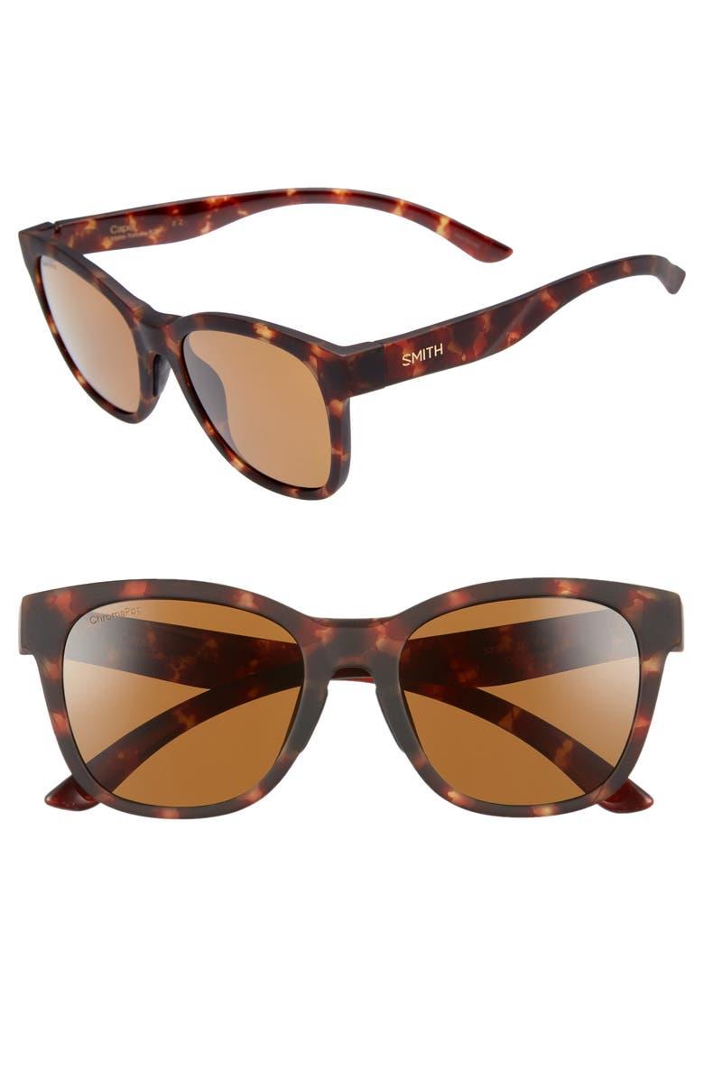 SMITH Caper 53mm ChromaPop<sup>™</sup> Polarized Square Sunglasses, Main, color, MATTE TORTOISE