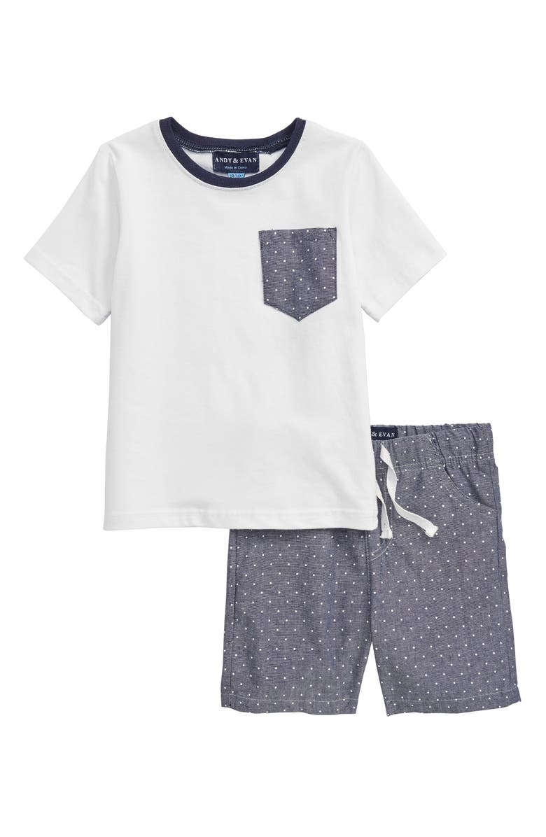 ANDY & EVAN T-Shirt & Polka Dot Shorts Set, Main, color, 105