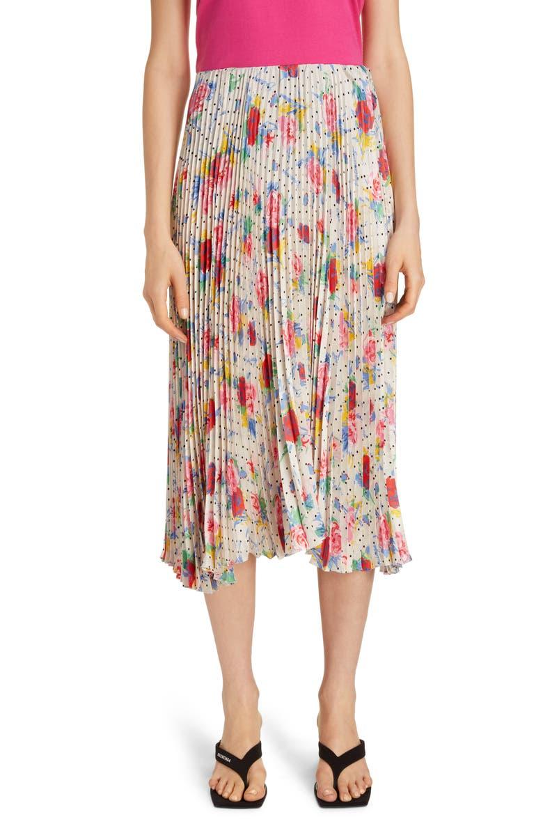 BALENCIAGA Floral Dot Pleated Midi Skirt, Main, color, CREAM/ RED