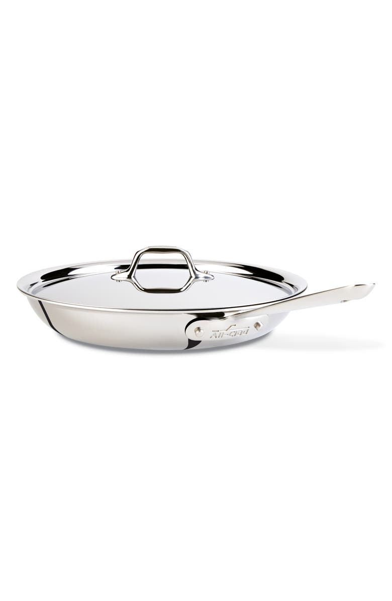 ALL-CLAD D3 12-Inch Stainless Steel Fry Pan with Lid, Main, color, 040