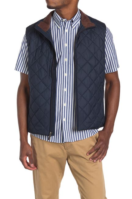 Image of Brooks Brothers Diamond Quilt Zip Vest