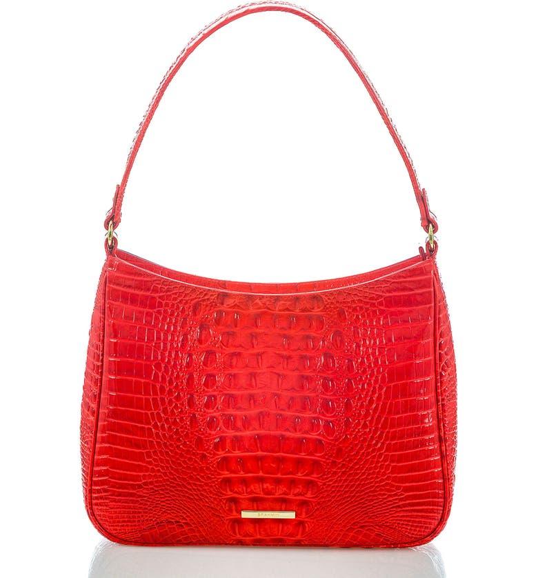 BRAHMIN Noelle Croc Embossed Leather Hobo Bag, Main, color, CANDY APPLE
