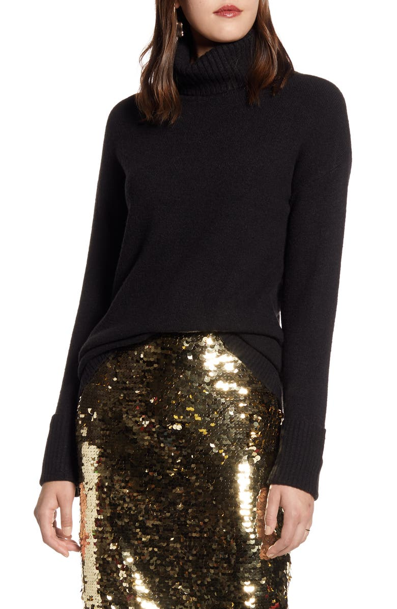 HALOGEN<SUP>®</SUP> Turtleneck Sweater, Main, color, BLACK