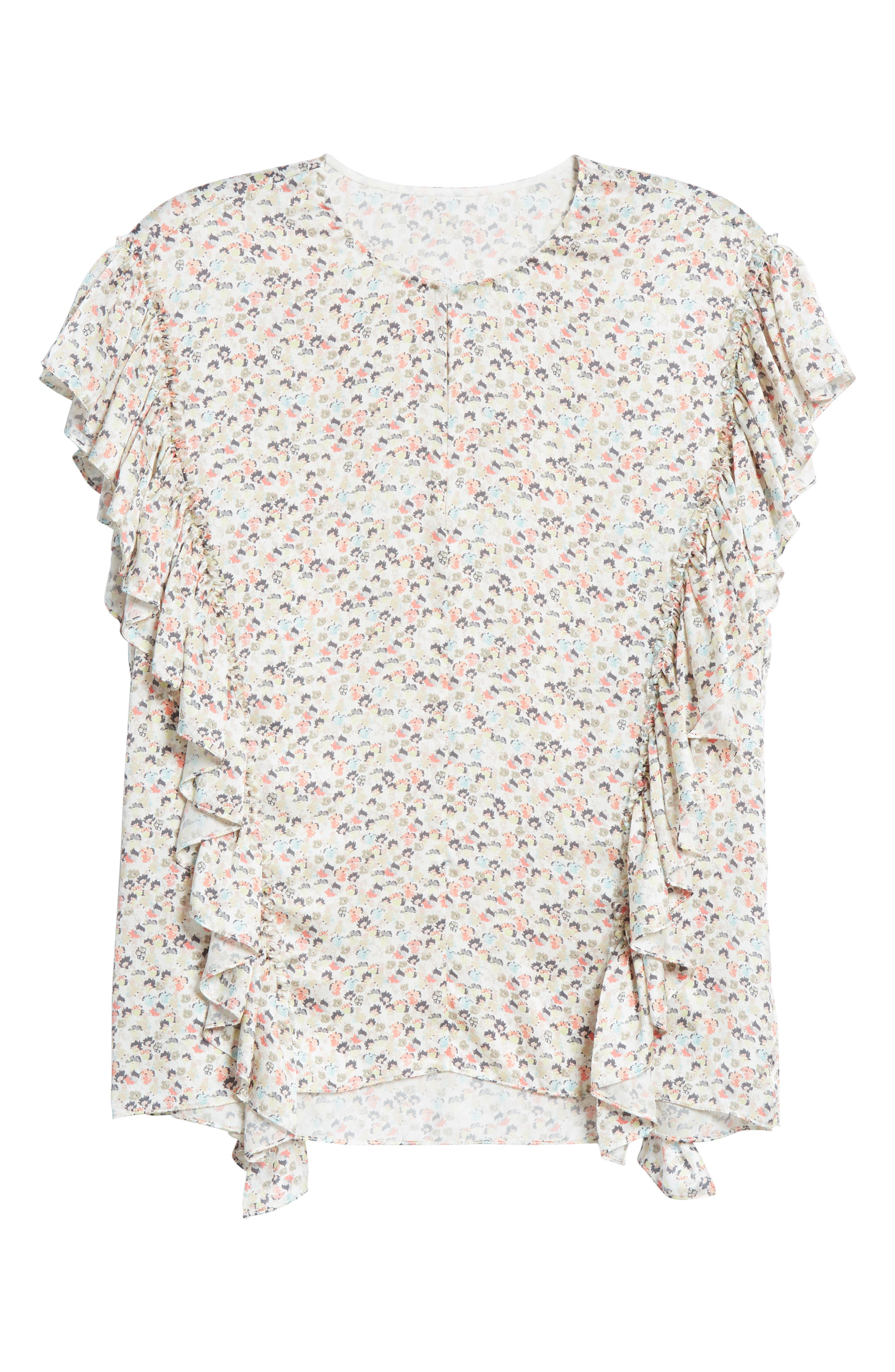 ,                             New Meadow Ruffle Silk Blouse,                             Alternate thumbnail 6, color,                             WHITE MULTI