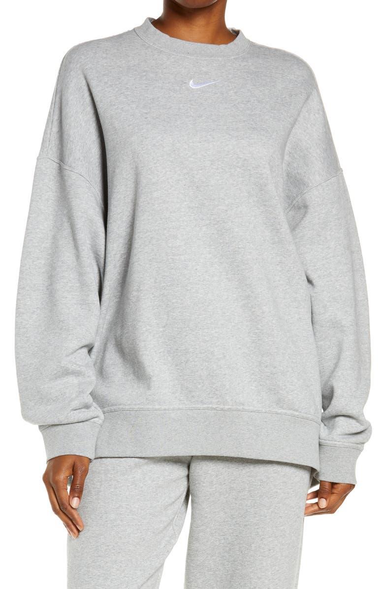 NIKE Sportswear Collection Essentials Oversize Fleece Crew Sweatshirt, Main, color, DK GREY HEATHER/ WHITE