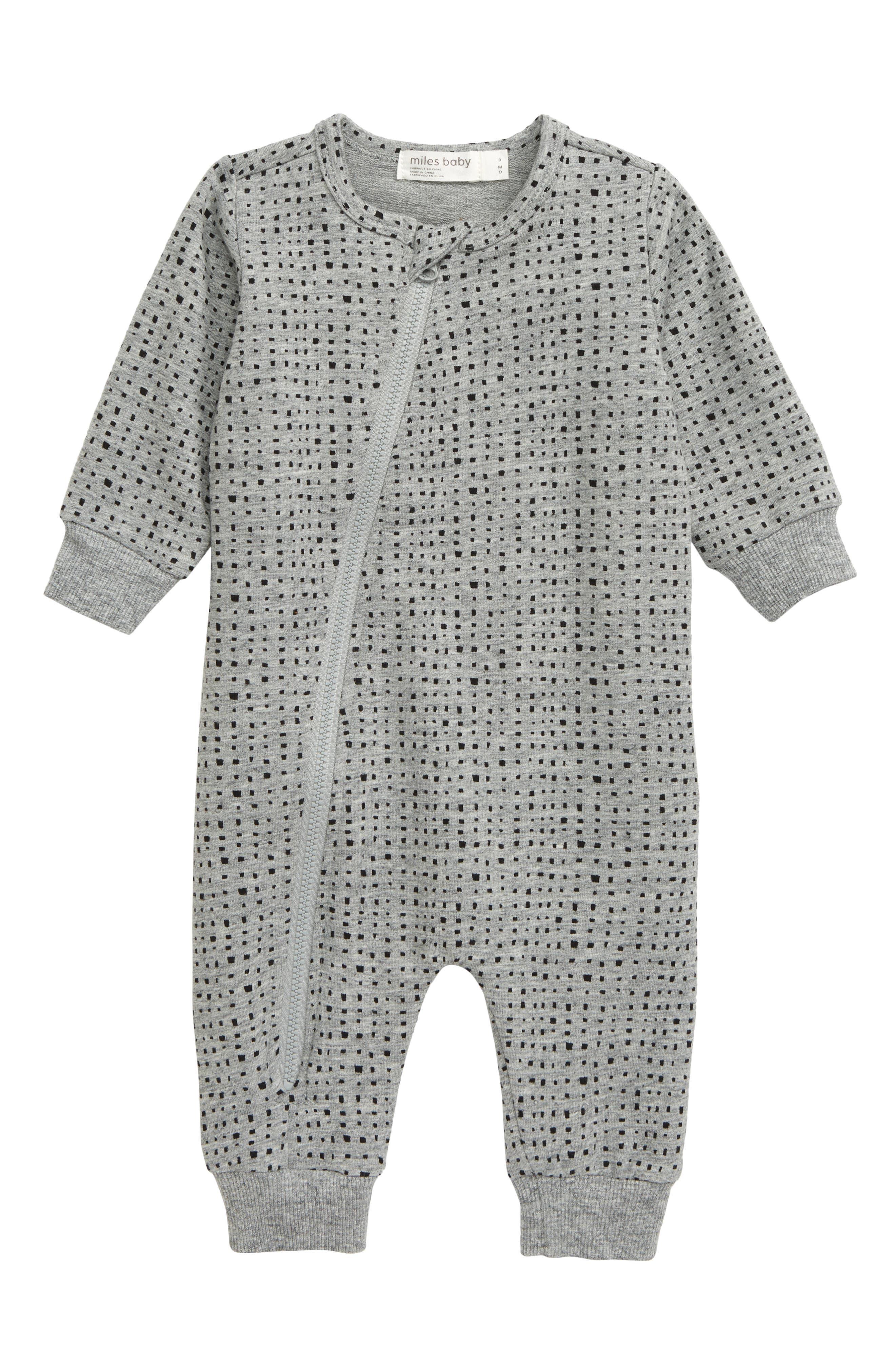 Infant Boys Miles Baby Asymmetrical Zip Romper Size 6M  Grey