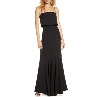 Wayf The Domenic Popover Trumpet Gown, Black
