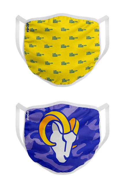 Image of FOCO NFL Los Angeles Rams Clutch Printed Face Cover - Pack of 2