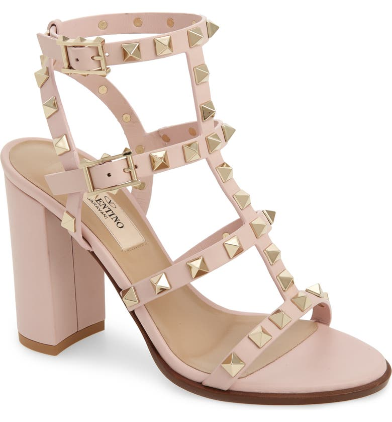 VALENTINO GARAVANI Rockstud Block Heel Sandal, Main, color, WATER ROSE