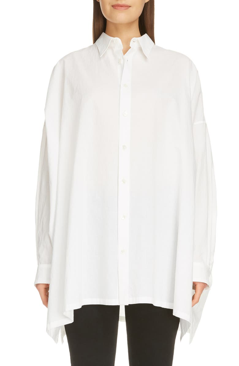 Y'S BY YOHJI YAMAMOTO Oversize Cotton Shirt, Main, color, WHITE