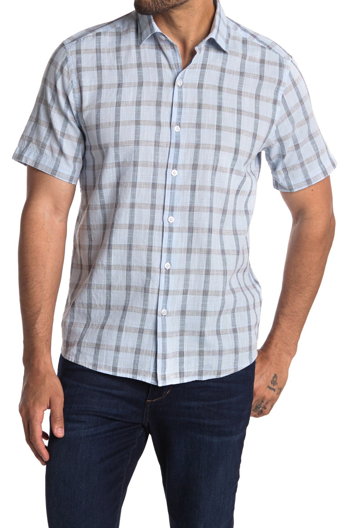 Image of ROBERT BARAKETT Fairfield Plaid Print Short Sleeve Shirt