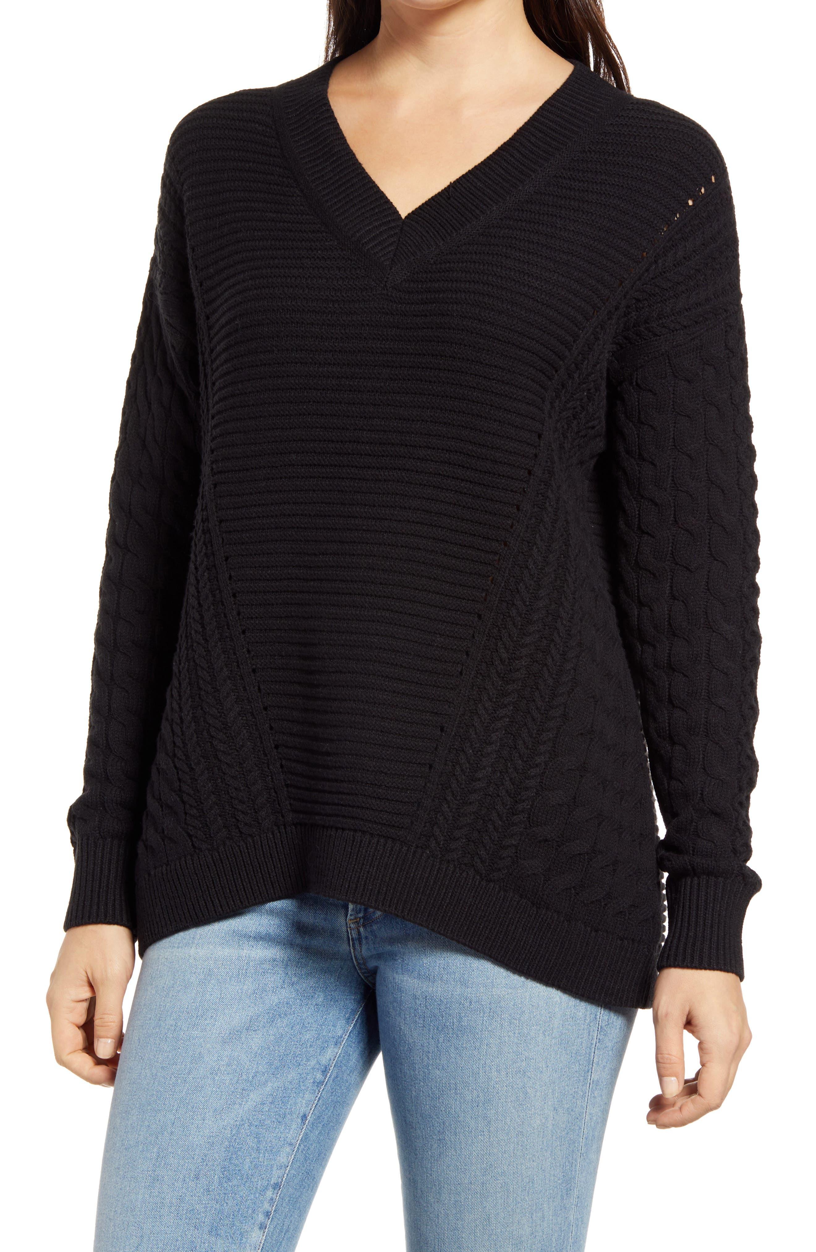 Caslon® Cable V-Neck Sweater | Nordstrom