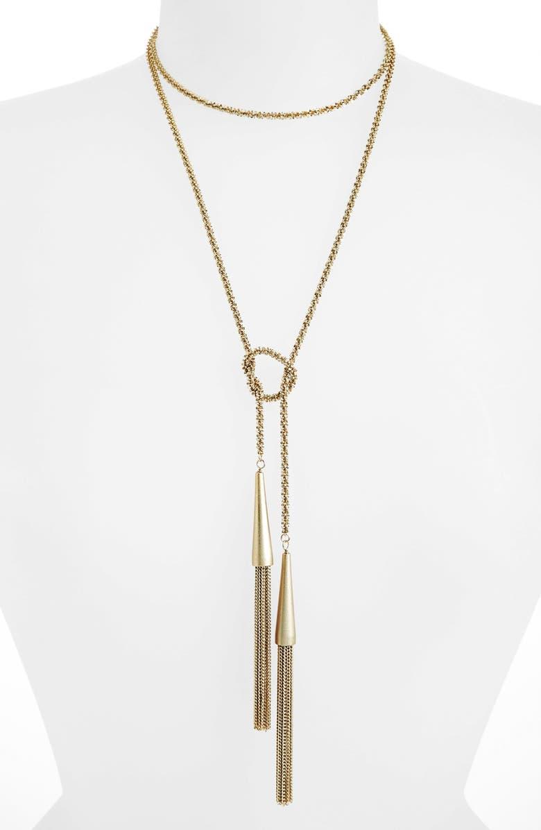 KENDRA SCOTT Phara Tassel Lariat Necklace, Main, color, GOLD