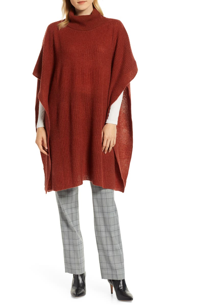 HALOGEN<SUP>®</SUP> Cashmere Turtleneck Poncho, Main, color, 225