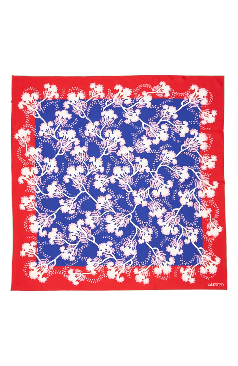 VALENTINO Elderflower Silk Twill Scarf, Main, color, LAPIS BLUE/ ROSE