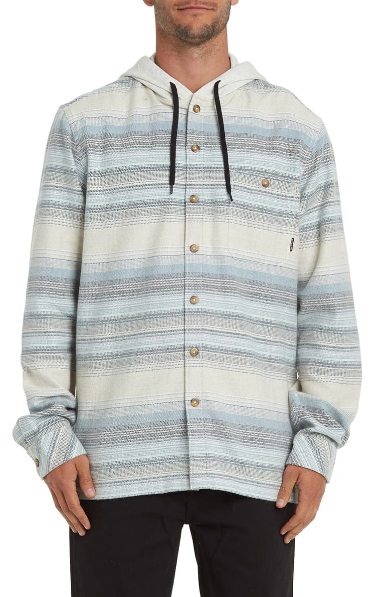BILLABONG Baja Stripe Button-Up Flannel Hoodie, Main, color, CHINO