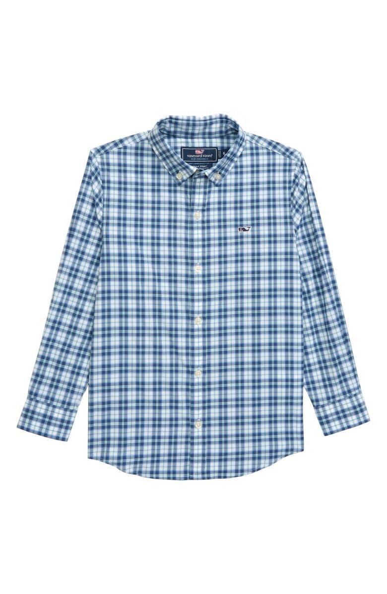 VINEYARD VINES Plaid Whale Shirt, Main, color, MOONSHINE