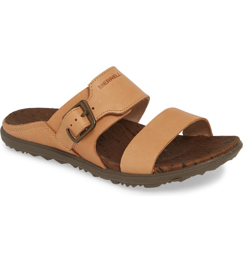 MERRELL Around Town Luxe Buckle Slide Sandal, Main, color, NATURAL TAN LEATHER