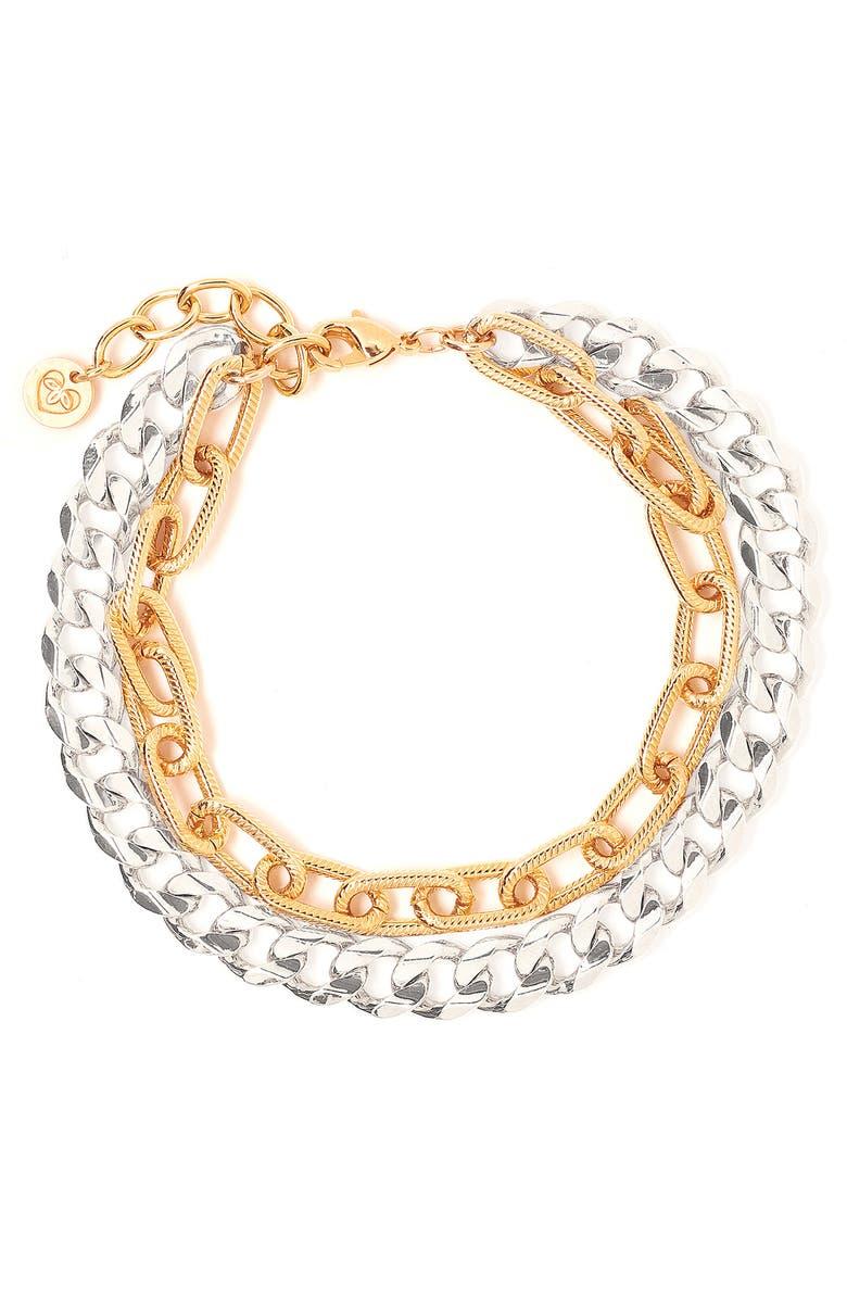 TESS + TRICIA Quinn Double Chain Bracelet, Main, color, SILVER