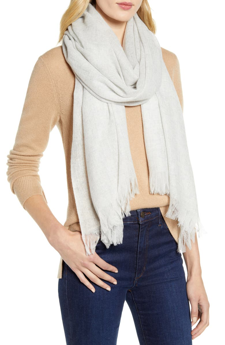 NORDSTROM Heathered Cashmere Gauze Scarf, Main, color, GREY LIGHT HEATHER