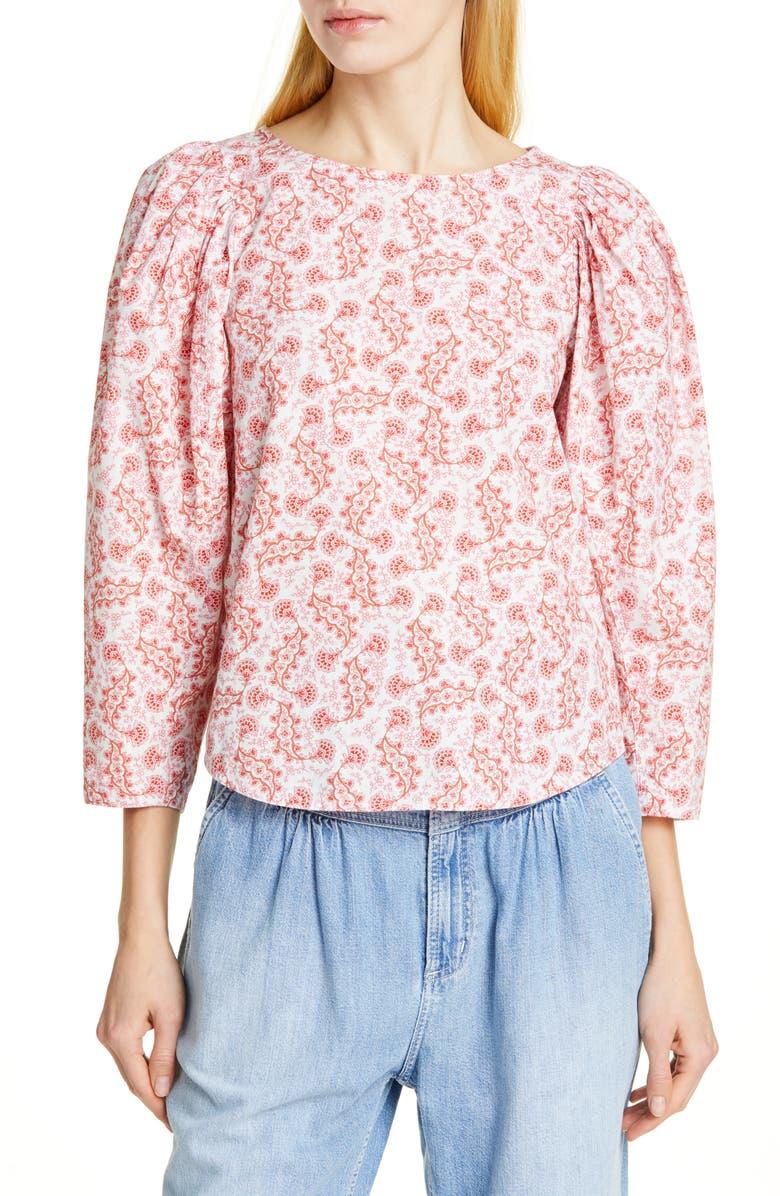 LA VIE REBECCA TAYLOR Wave Paisley Puff Sleeve Cotton Top, Main, color, 600