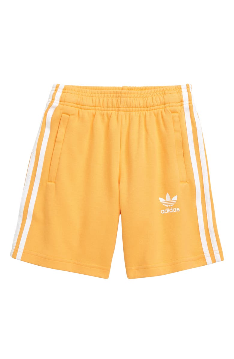 ADIDAS ORIGINALS Three Stripe Athletic Shorts, Main, color, REAL GOLD/ WHITE