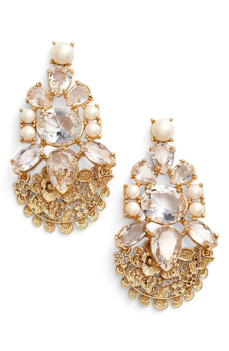 KATE SPADE NEW YORK 'chantilly gems' crystal drop earrings, Main, color, 900