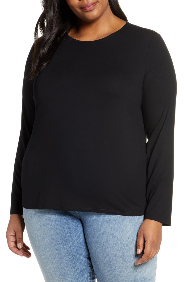 EILEEN FISHER Long Sleeve Crewneck Top, Main, color, BLACK