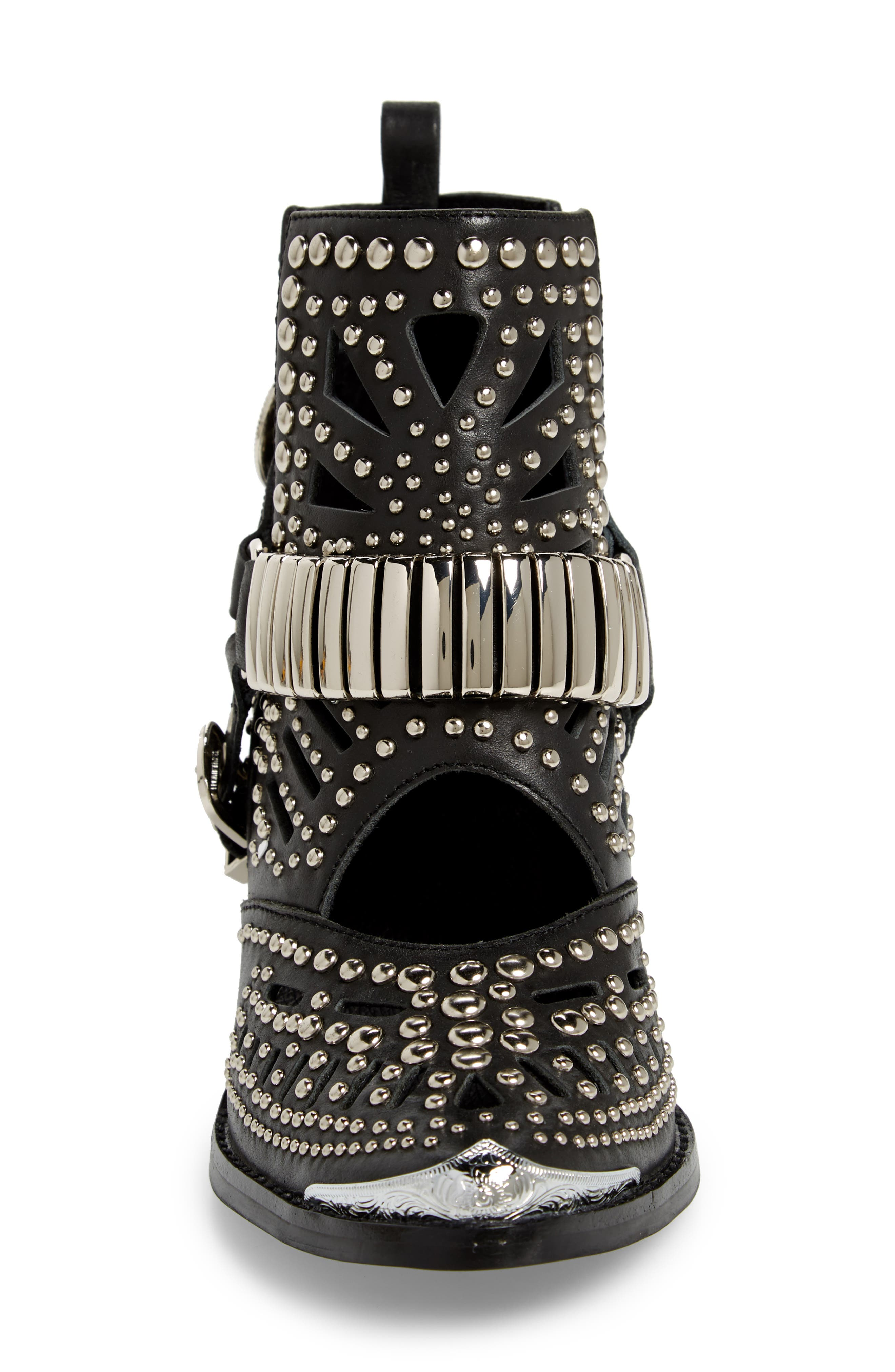 ,                             Wylie Studded Western Bootie,                             Alternate thumbnail 4, color,                             BLACK/ SILVER LEATHER