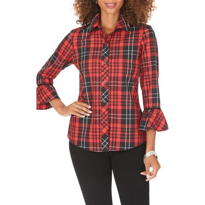 Petite Foxcroft Brinkley Matheson Tartan Shirt, Black