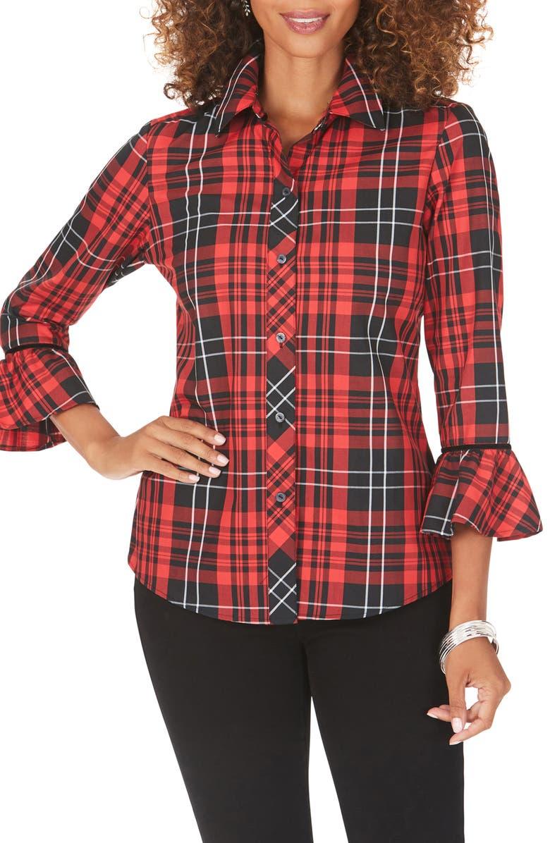 FOXCROFT Brinkley Matheson Tartan Shirt, Main, color, BLACK MULTI