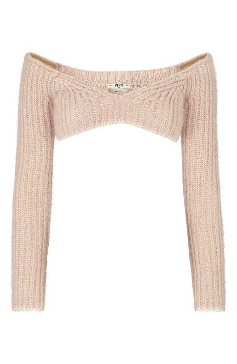 FENDI Off the Shoulder Bandeau Crop Sweater, Main, color, PROMISE