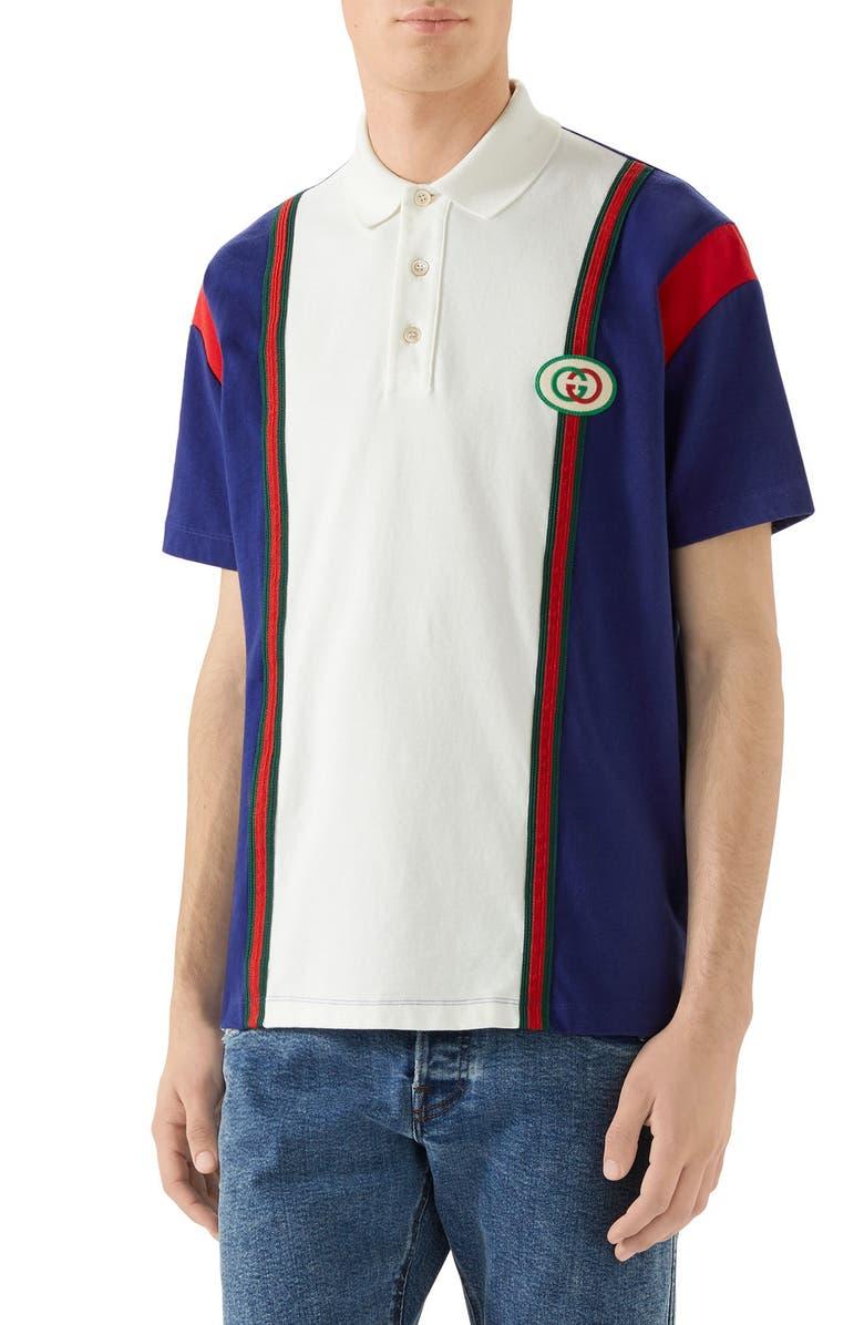 GUCCI Logo Patch Colorblock Polo, Main, color, INCHIOSTRO MILK
