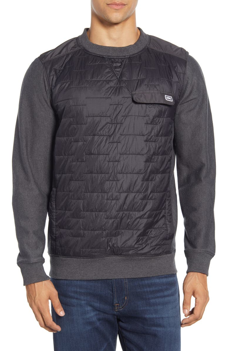 HELLY HANSEN Movatn Water Resistant Mixed Media Pullover, Main, color, EBONY