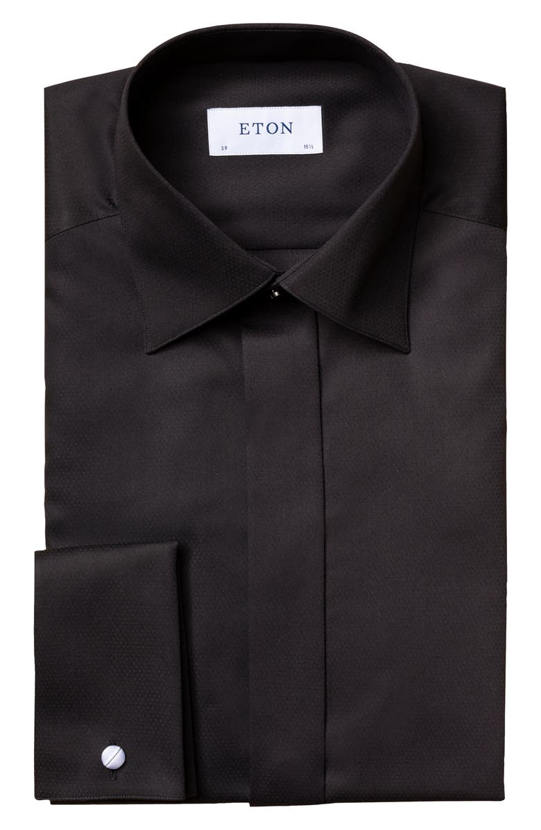 ETON Slim Fit Textured Solid Formal Shirt, Main, color, BLACK