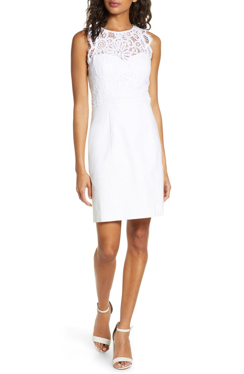 LILLY PULITZER<SUP>®</SUP> Sharice Lace Sheath Dress, Main, color, RESORT WHITE