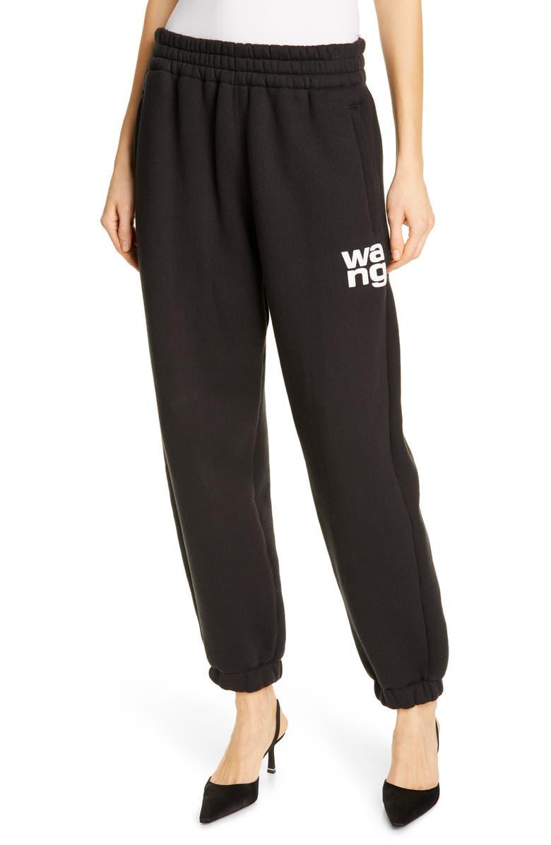 ALEXANDERWANG.T Wash & Go Dense Fleece Pants, Main, color, BLACK