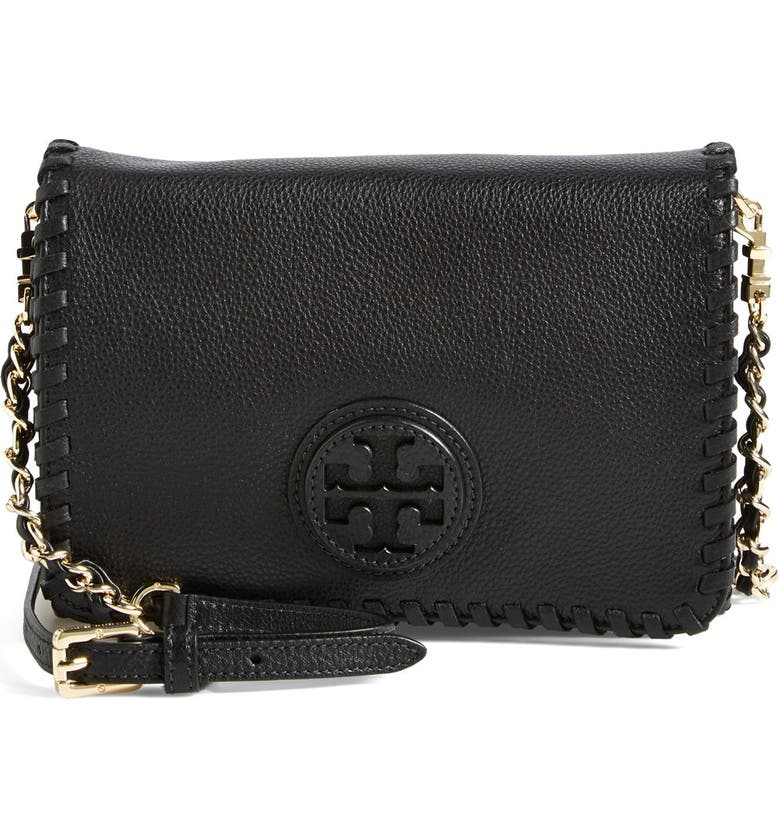 TORY BURCH 'Marion' Leather Crossbody Flap Bag, Main, color, 001