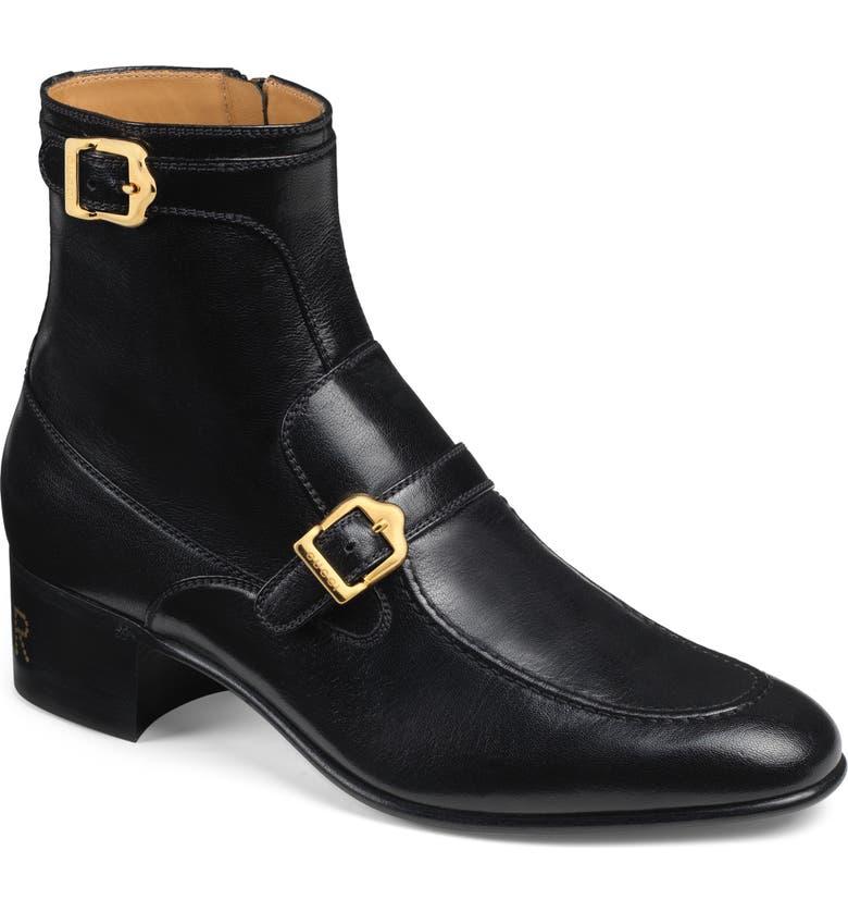 GUCCI Ebal Double Buckle Boot, Main, color, NERO