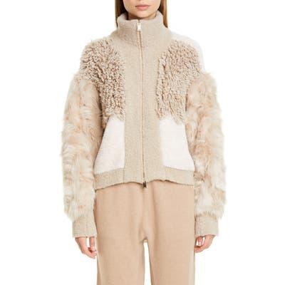 Stella Mccartney Mixed Faux Fur Alpaca Blend Jacket, US / 46 IT - Beige