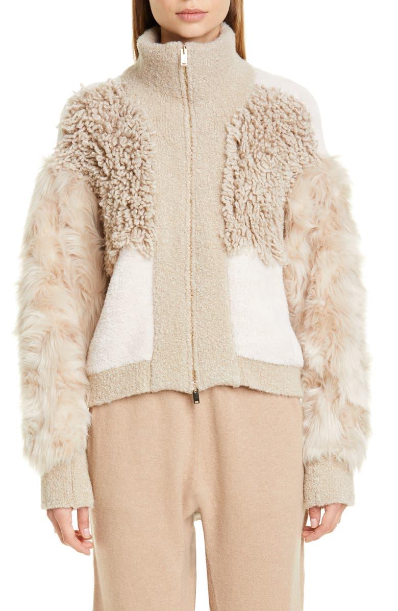 STELLA MCCARTNEY Mixed Faux Fur Alpaca Blend Jacket, Main, color, CAMEL COLOURWAY
