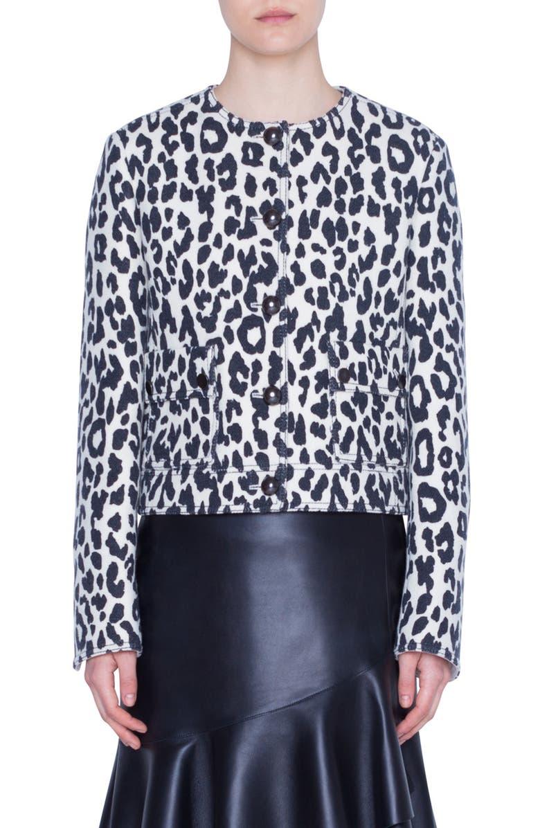AKRIS PUNTO Leopard Print Wool & Silk Crepe Jacket, Main, color, 100