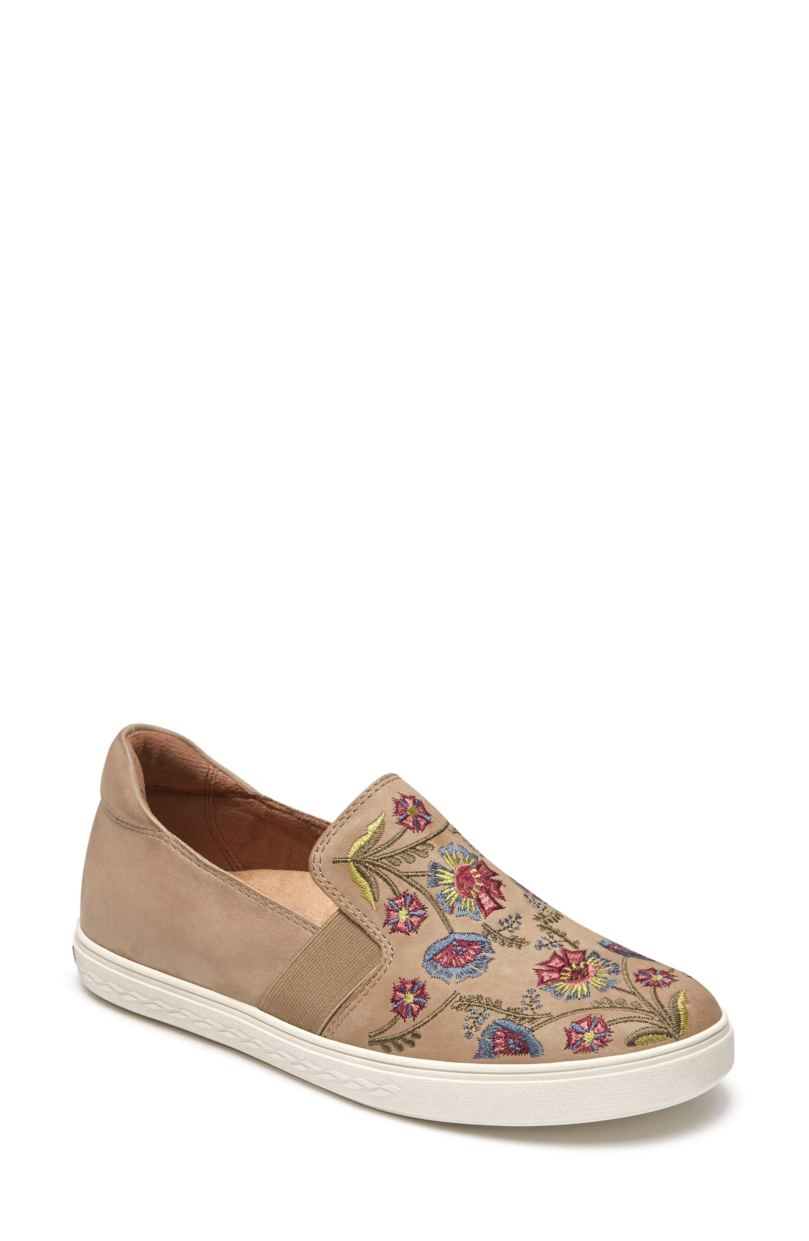 Cobb Hill Flower Embroidered Slip-On Sneaker- Beige