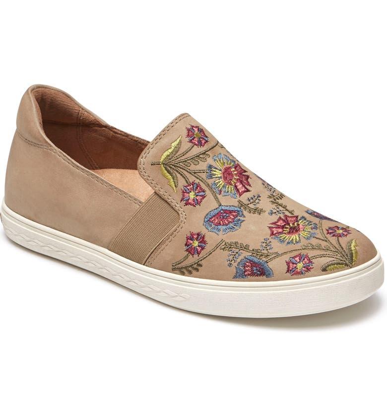 ROCKPORT COBB HILL Cobb Hill Flower Embroidered Slip-On Sneaker, Main, color, LIGHT KHAKI NUBUCK